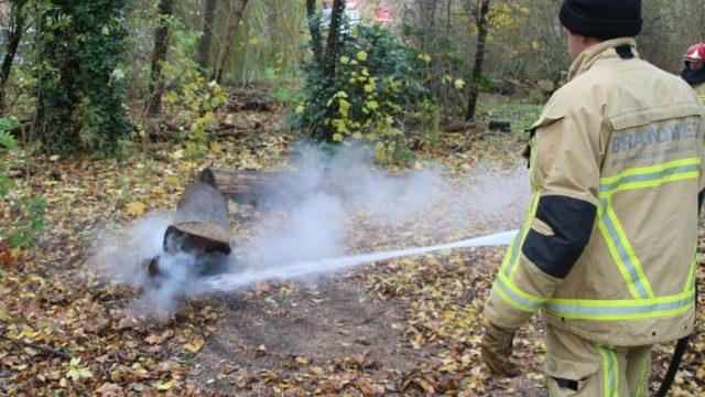 Boomstam in brand op Stokkeland